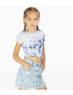 T-shirt Dziecięcy Barwiony Błękitny z Dziurami - Sky