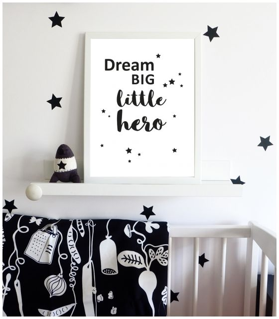 PLAKAT DREAM BIG LITTLE HERO biały