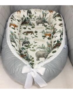 Kokon niemowlęcy premium Safari ze zdejmowanym pokrowcem