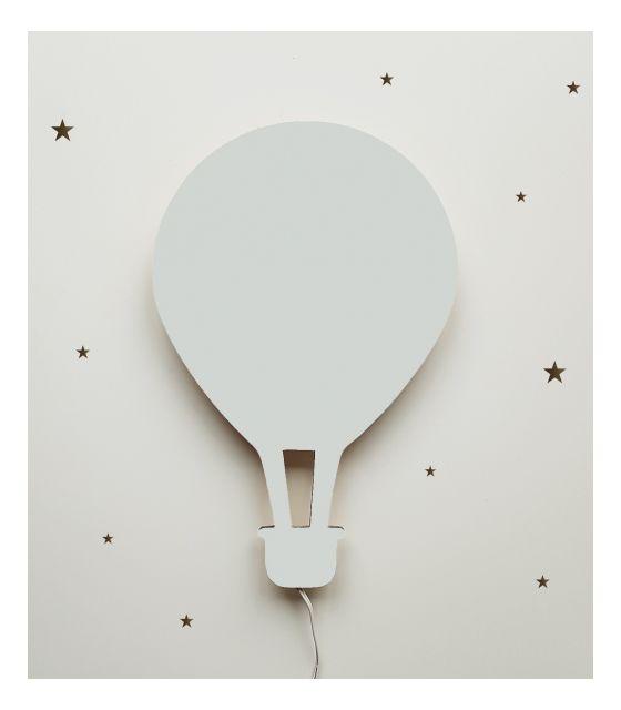 Drewniana lampka nocna - balon ALEX szara