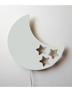 Drewniana lampka nocna - księżyc BOB szara