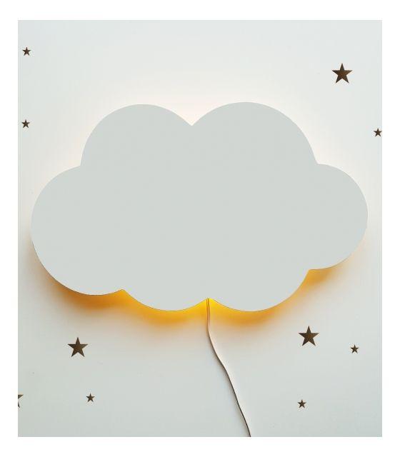 Drewniana lampka nocna - chmurka TOSIA szara