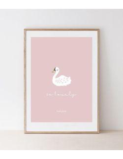 Funkybox - Plakat Dziecięcy 30x42, Pink Swan