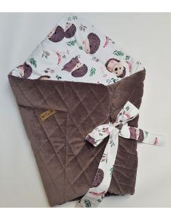 ROŻEK niemowlęcy 75x75 cm JEZYKI z Velvet ciemne cappuccino caro