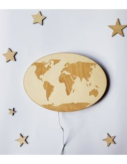Drewniana lampka nocna - Mapa Świata