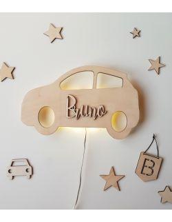 Drewniana lampka nocna - Auto z imieniem dziecka