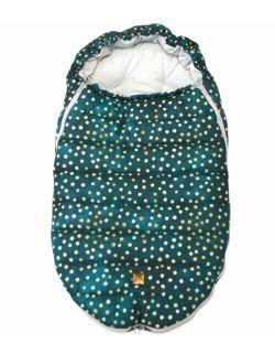 Śpiworek do wózka - Butelkowy w Złote Kropy (newborn 0-12mcy)
