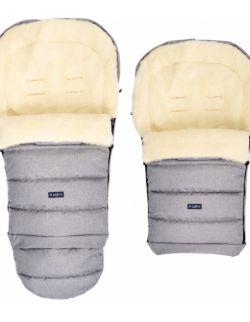 Regulowany śpiworek iGrow do wózka i fotelika z owczą wełną - melanż jasnoszary