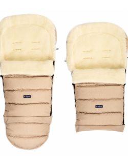 Regulowany śpiworek iGrow do wózka i fotelika z owczą wełną - melanż beżowy