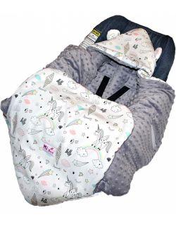 Śpiworek/ Kocyk do fotelika Unicorn& grey dots