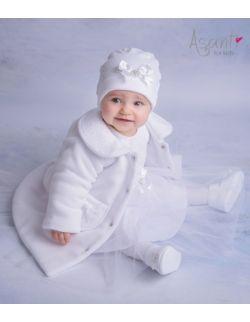Płaszcz płaszczyk do chrztu Blanka biały