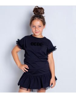 BLACK TULLE T-SHIRT