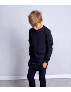 BLACK RAW HEM SWEATSHIRT