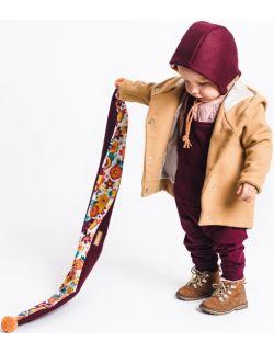 Czapka wełniana dziecięca bonetka z szalikiem-bordo