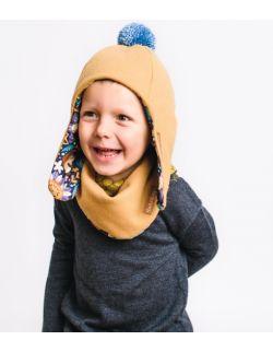 Zimowa wełniana dziecięca czapka pilotka z apaszką