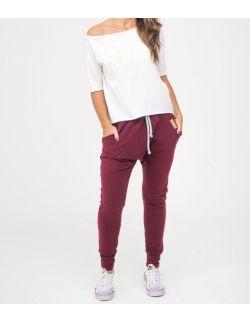Spodnie damskie typu baggy - Burgund