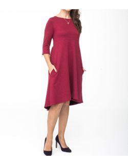 Sukienka damska z przedłużonym tyłem - Burgund