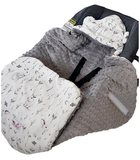 Śpiworek/ Kocyk do fotelika Bunnies& grey dots