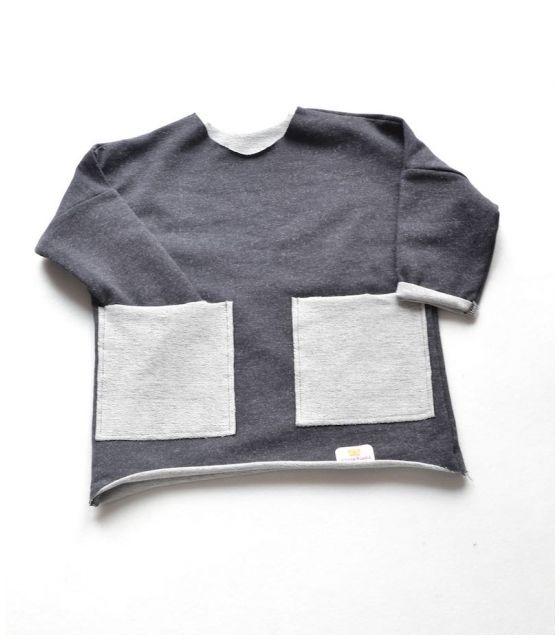 Bluza grafitowa z kieszonkami