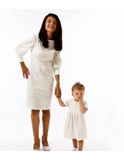 Zestaw sukienek dla mamy i córki Królewska Perła Ecru