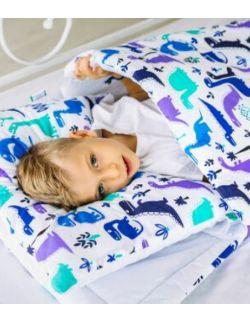 śpiworek z ociepleniem Junior bawełna Dinozaury + poduszka