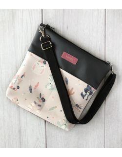 torebka dla dziewczynki Ninki® ekoskóra (indiańskie zwierzątka na różowym tle) ciemno-szary