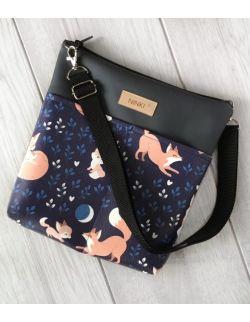 torebka dla dziewczynki Ninki® ekoskóra (liski na granatowym tle)
