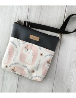 torebka dla dziewczynki Ninki® ekoskóra (jednorożec na białym tle) ciemno-szary