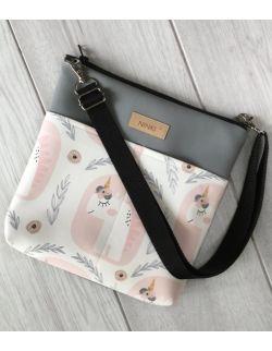 torebka dla dziewczynki Ninki® ekoskóra (jednorożec na białym tle) szary