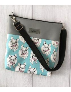 torebka dla dziewczynki Ninki® ekoskóra (białe buldożki na niebieskim tle)