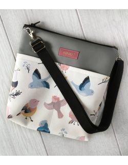 torebka dla dziewczynki Ninki® ekoskóra (ptaszki na białym tle)