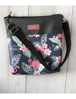 torebka dla dziewczynki Ninki® ekoskóra (różowe flamingi na granatowym tle)