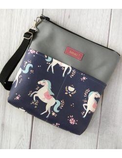 torebka dla dziewczynki Ninki® ekoskóra (jednorożec na granatowym tle) szary