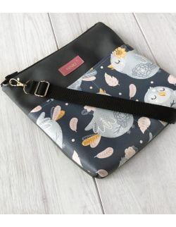 torebka dla dziewczynki Ninki® ekoskóra (niebieskie ptaki na granatowym tle)