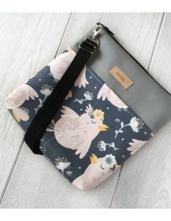 torebka dla dziewczynki Ninki® ekoskóra (różowe ptaki na granatowym tle)