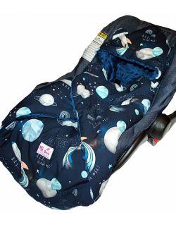 Śpiworek/ Kocyk do fotelika Kosmos& navy dots