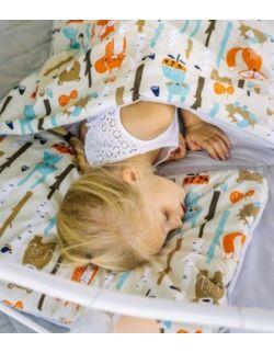 Śpiworek z ociepleniem Junior bawełna Las pomarańczowy + poduszka