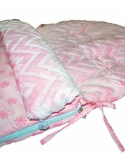 Śpiworek do wózka 5w1 dla dzieci od 0-18 m-cy stery&chevron róż