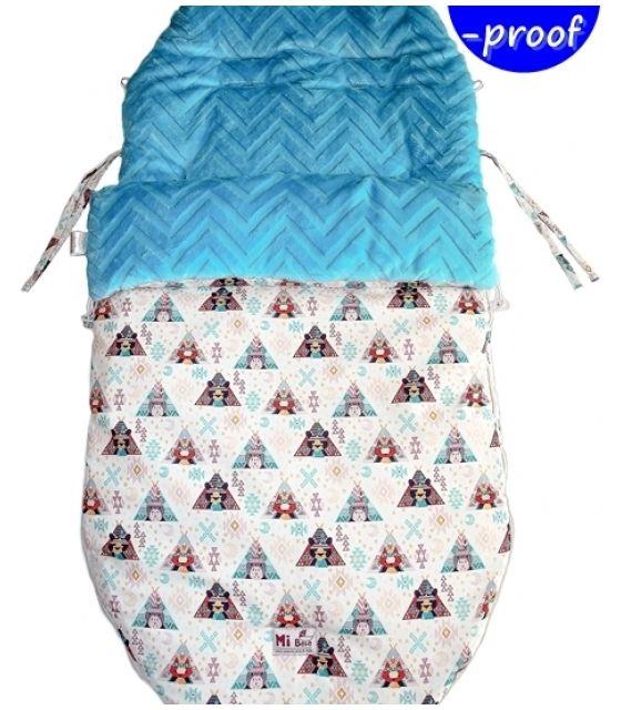 Śpiworek do wózka 5w1 dla dzieci od 12-36 m-cy tipi&chevron turkus