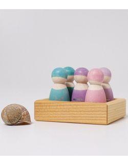 Drewniane figurki 5 szt., Przyjaciele 1+, pastelowe,
