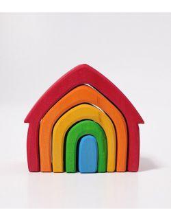 Drewniany Domek 5 el. 1+, tęczowy