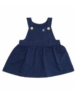 Sukienka ogrodniczka z bawełny organicznej - granatowa.
