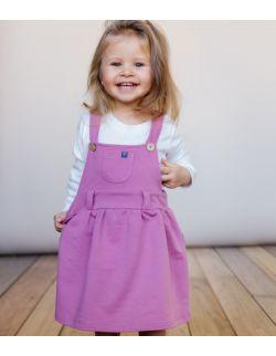 Sukienka ogrodniczka z bawełny organicznej - rożowa.