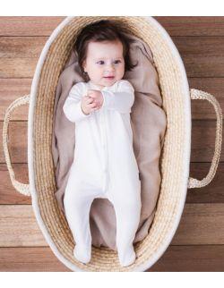 Pajacyk ze stópkami - z bawełny organicznej - biały