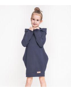 Tunika z kapturem dla dziewczynki - Dark Blue