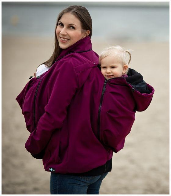 Kurtka softshell ciążowa oraz do noszenia dziecka NP17 - śliwka