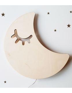 Drewniana lampka nocna - Śpiący księżyc