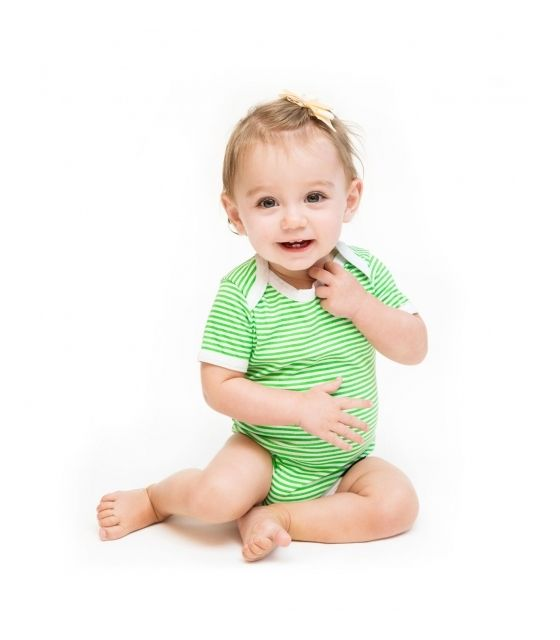 Bawełniane body z krótkim rękawem na prezent –Zielone jabłuszko - Ah Goo Baby