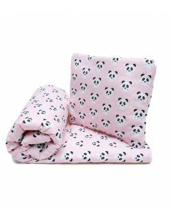 Komplet Pościeli z Wypełnieniem Pandy buźki różowe 100x135 cm