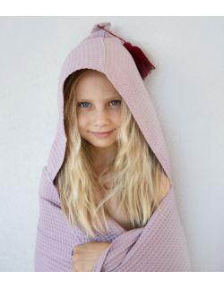 Ponczo waffel fioletowy- ręcznik przedszkolaka